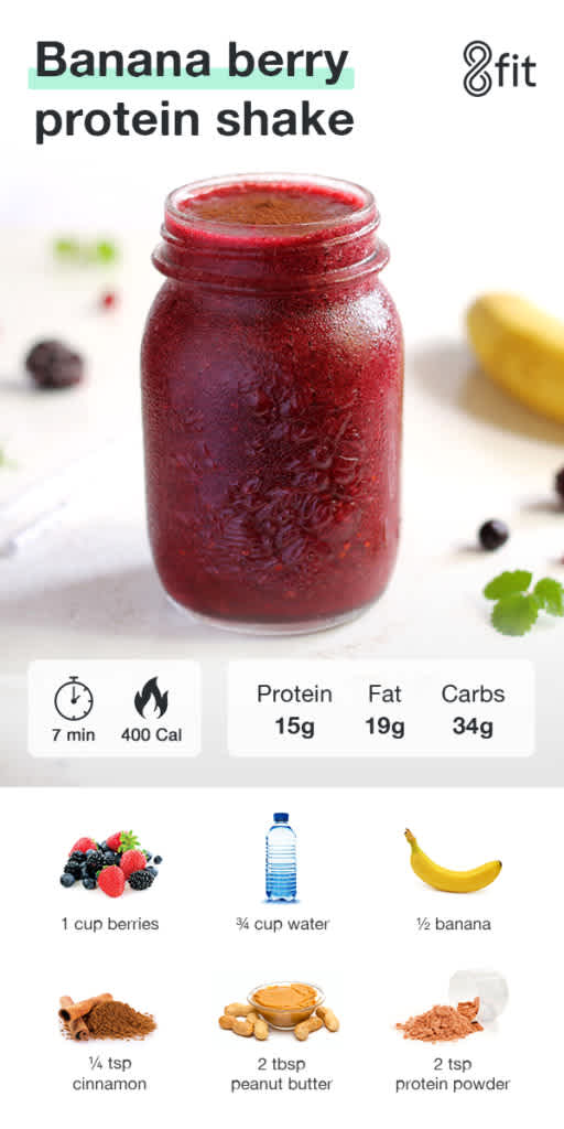 Banana berry protein shake graphic