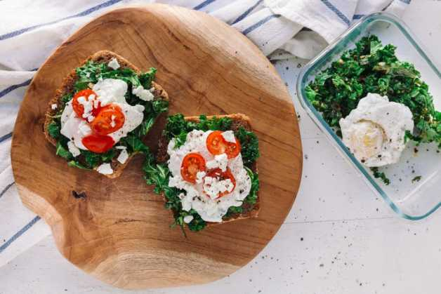 kale tomato and poached egg bread sugar free breakfast