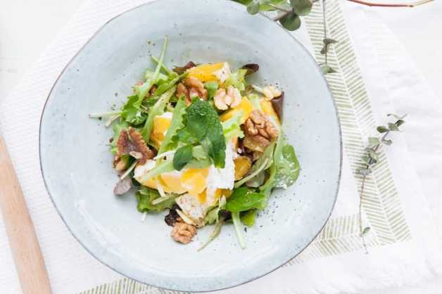 orange walnut and cottage cheese salad healthy recipe