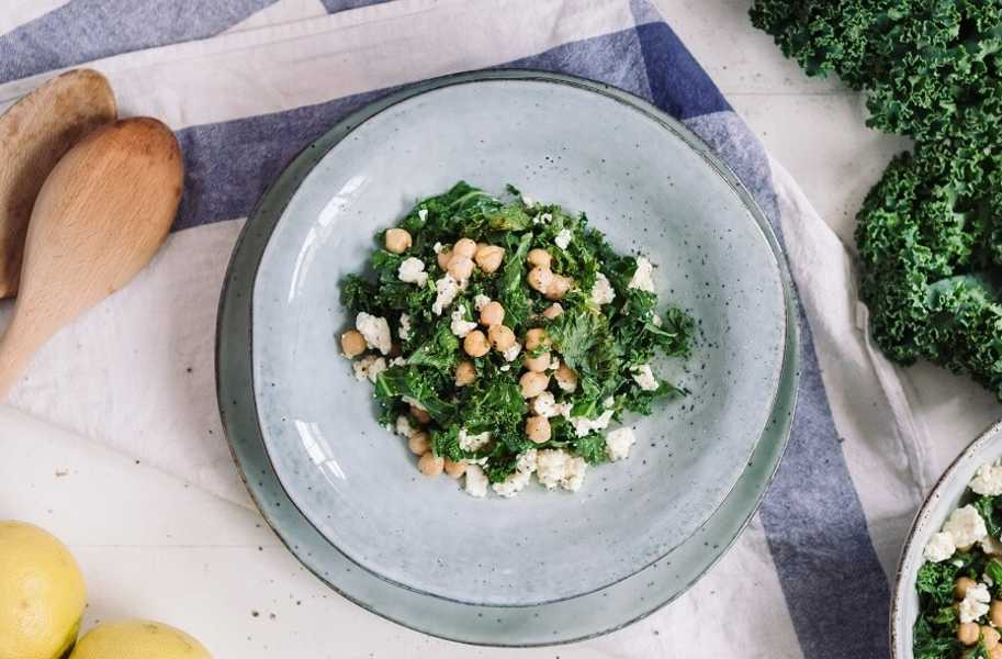 chickpea feta kale salad-recipe-salad-bowl