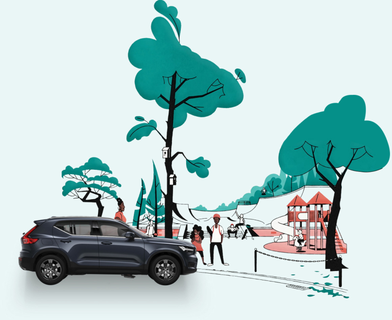 Illustration of playground with trees and a Volvo XC40