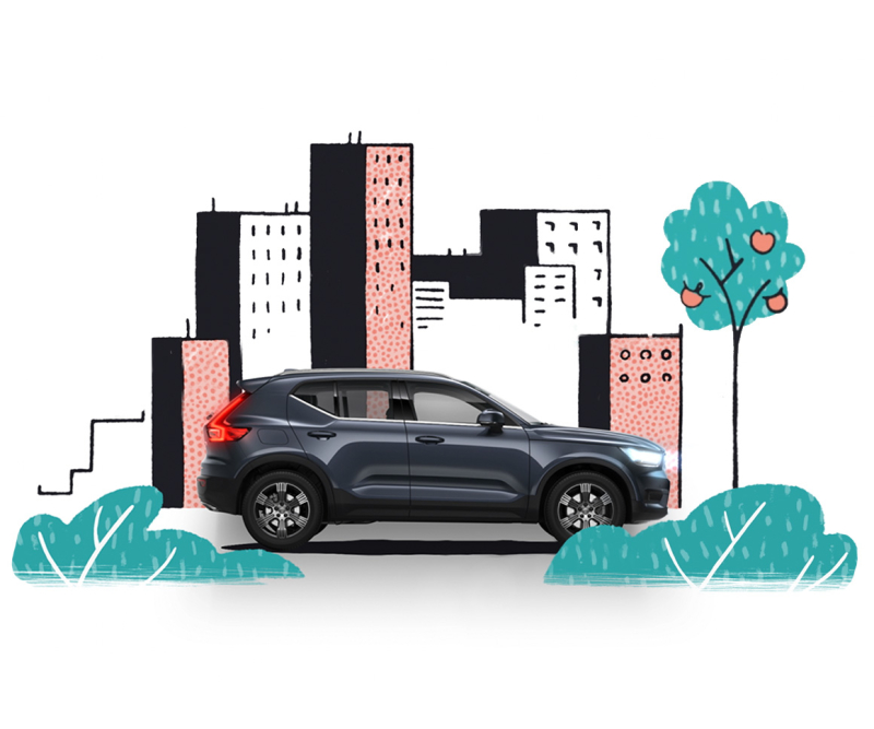 Volvo XC40 surrounded by illustrated trees and city skyline