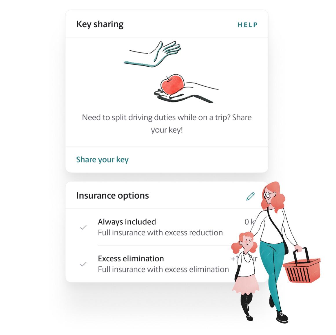 M app - key sharing screen