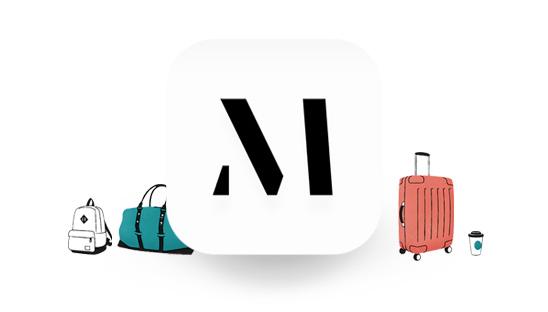 Illustration av bagage runt M logotyp