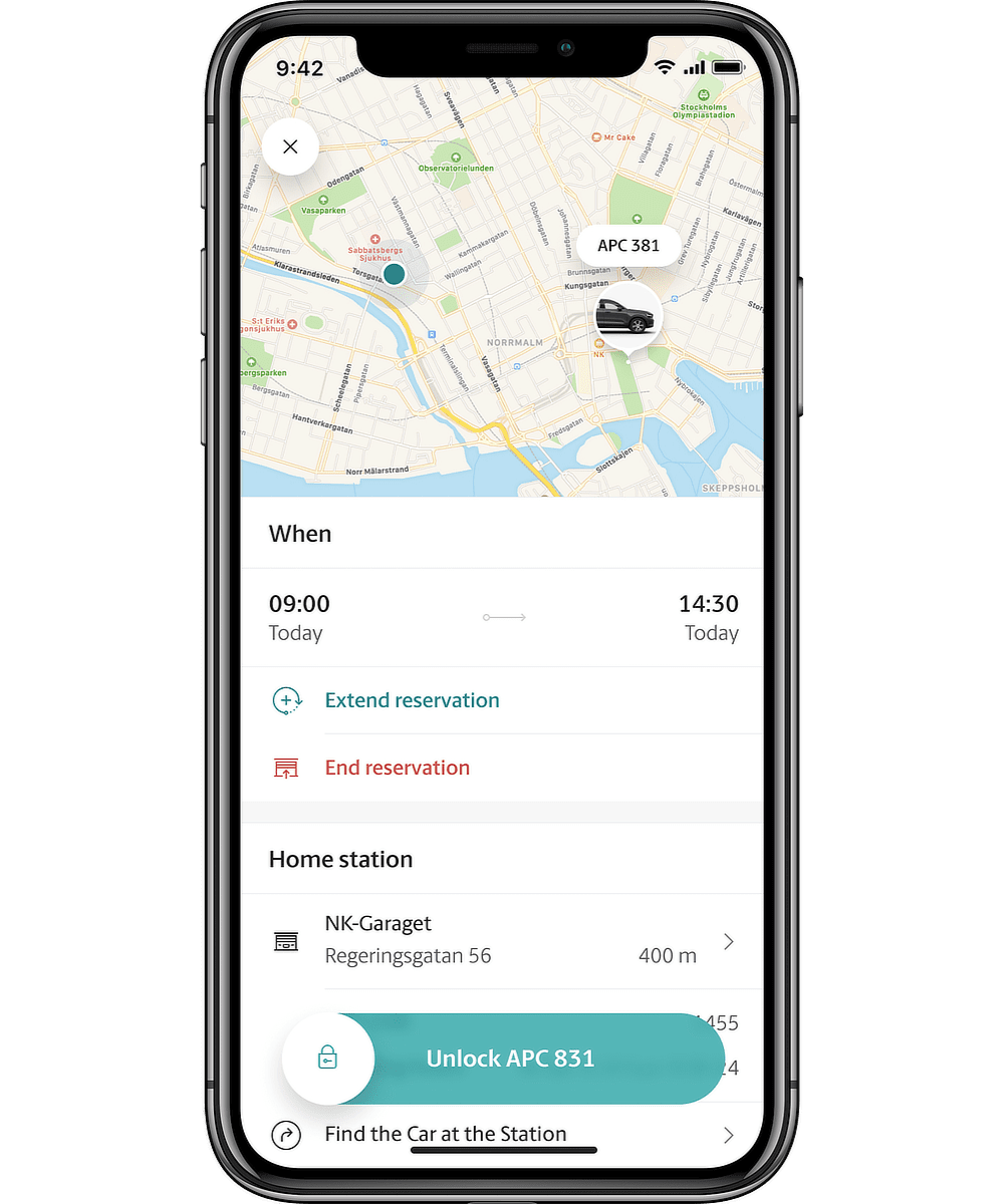 M app reservation screen