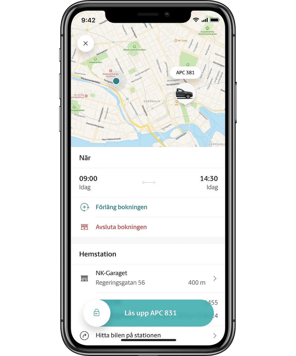 M app bokningsvy