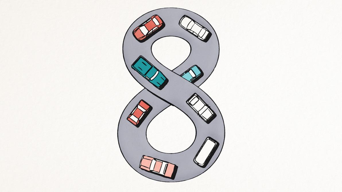 Animerade bilar som kör runt i en åtta