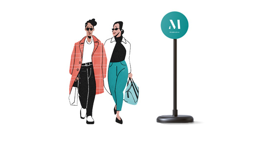 Illustration av en M station skylt med två människor som promenerar förbi
