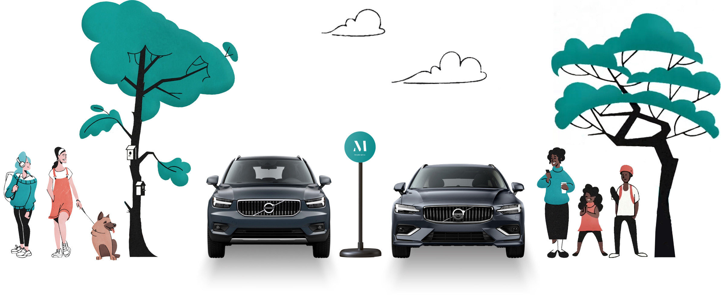 Illustration of two Volvo cars parked next to trees with people standing by