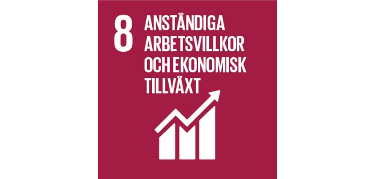 Bild som beskriver FN utvecklingsmål 8