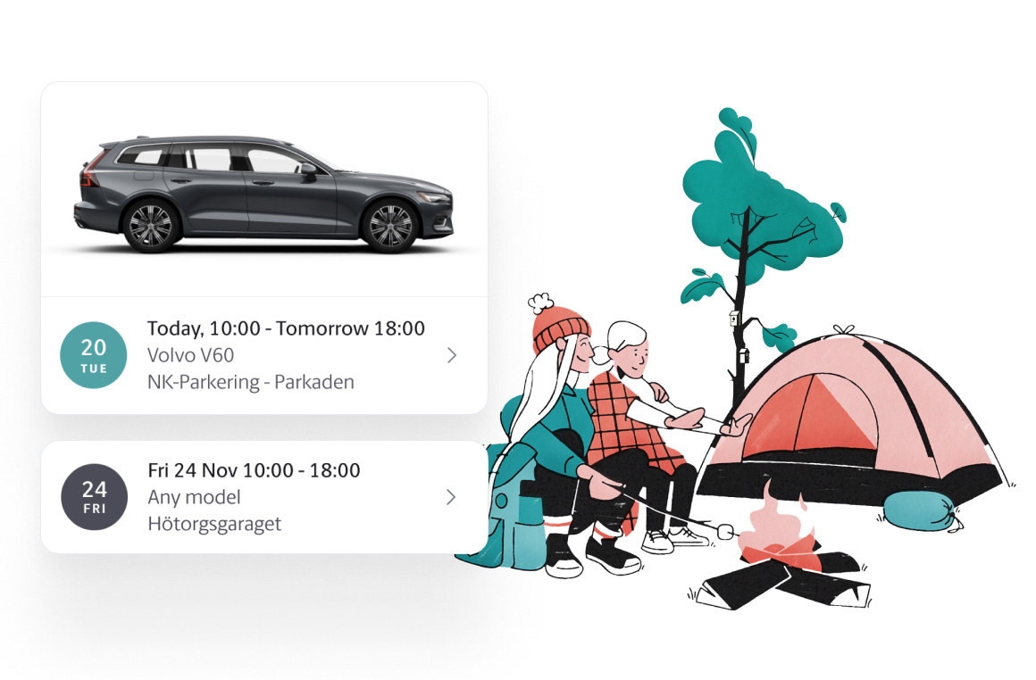 Camping and fishing illustration
