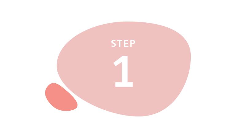 Step 1 written inside salmon-coloured circle shape