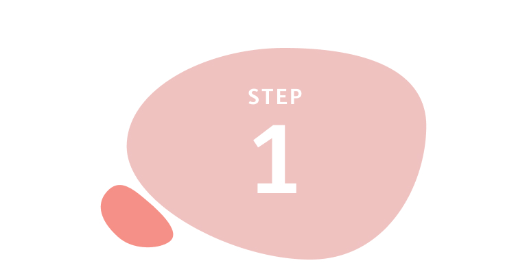 Step 1 written inside salmon-coloured circle shape