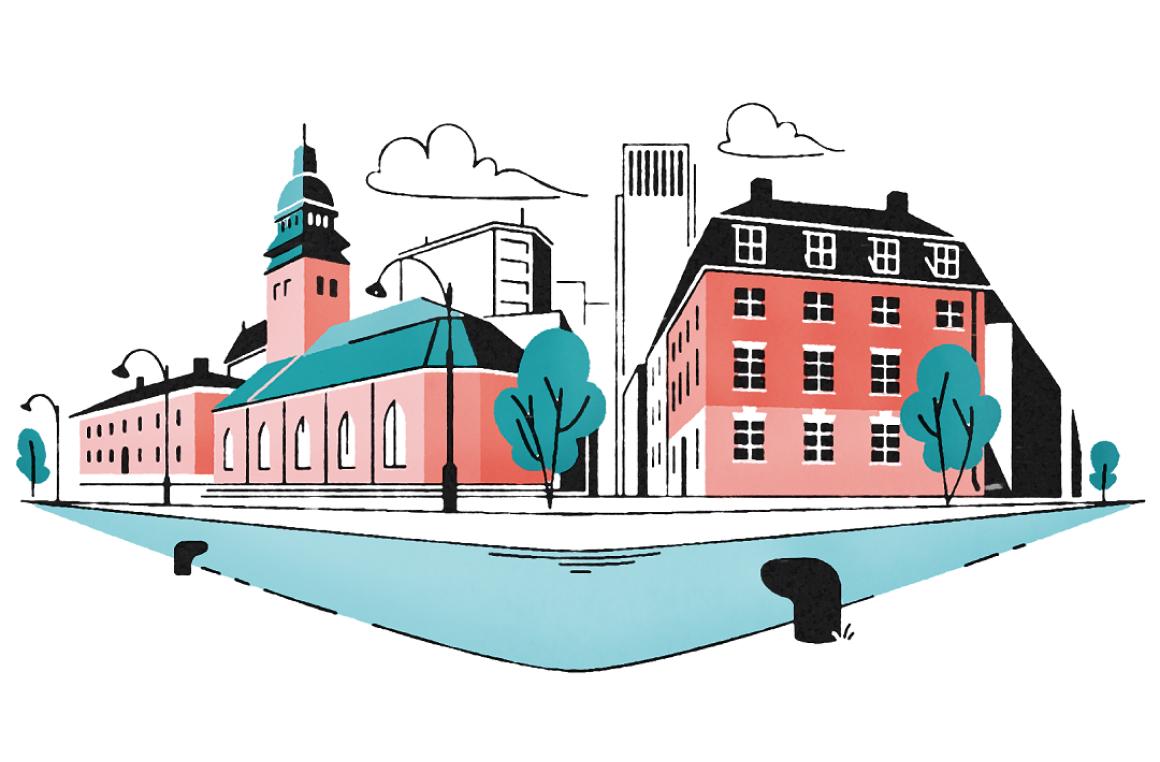 Illustration av ett stadskvarter