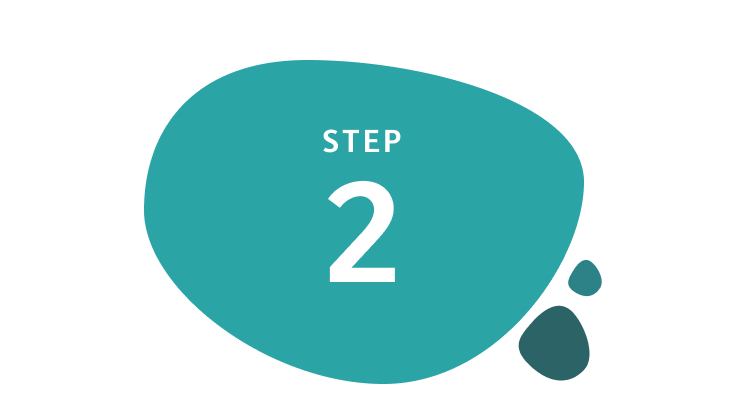 Step 2 written inside teal-coloured circle shape