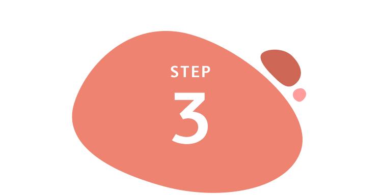 Step 3 written inside orange circle shape