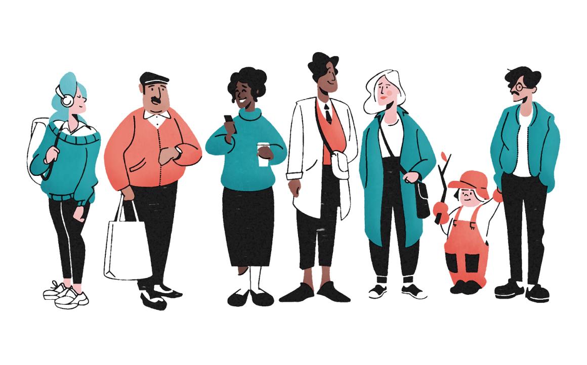 Illustration människor i alla åldrar