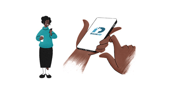 Illustration of a woman and hands holding a smartphone that shows the BankID app