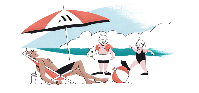 Illustration of father relaxing at the beach with two kids under a parasol with an M logo