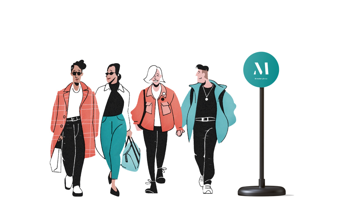 llustration av fyra personer som går förbi en M station skylt