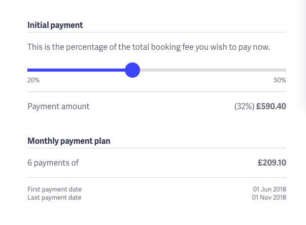 Choose your initial payment amount