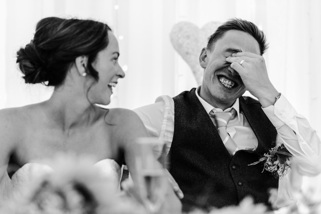 Bride-groom-laughing