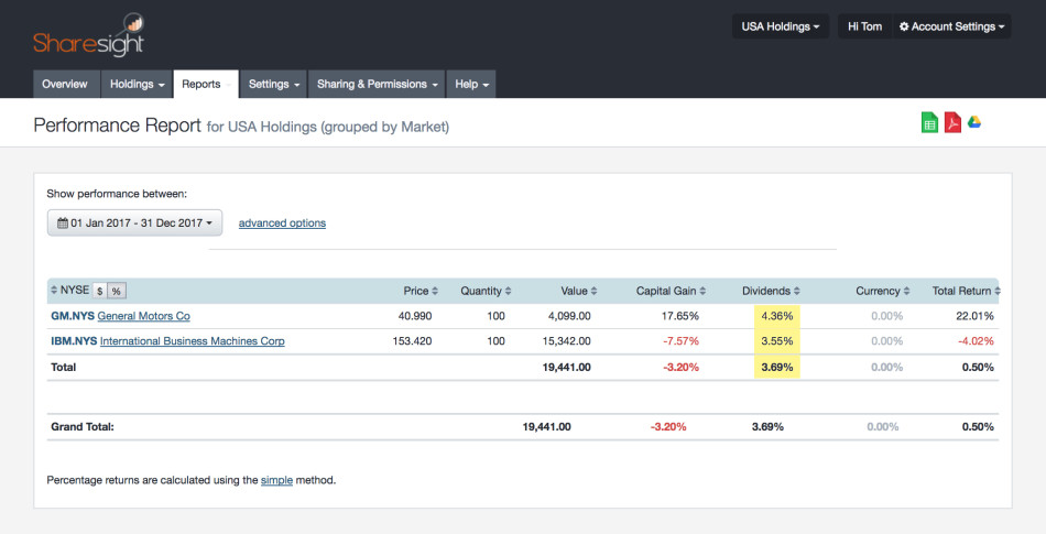 screenshot - sharesight performance report : dividends