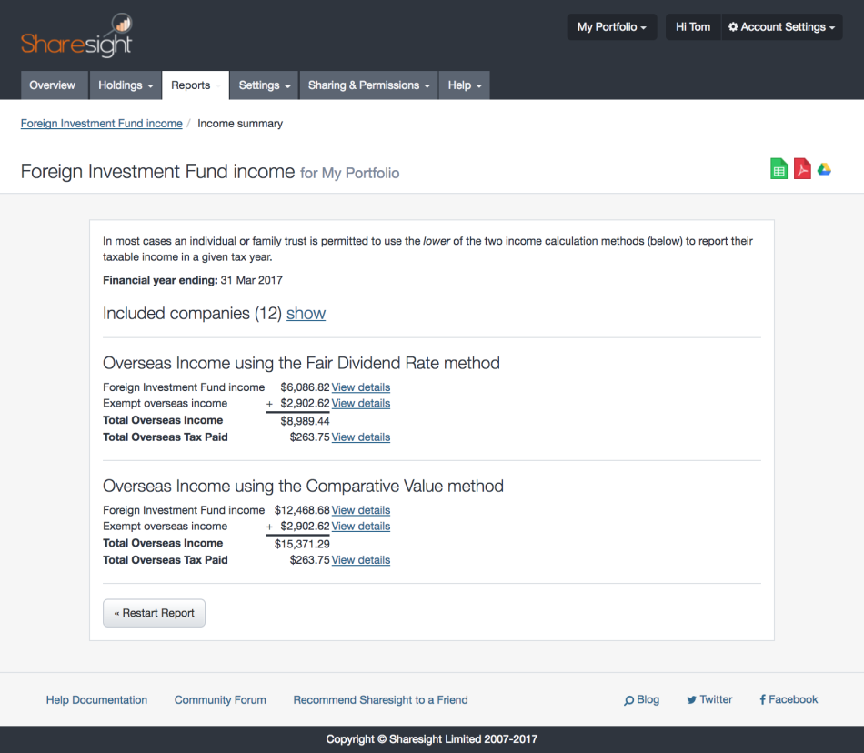screenshot - sharesight FIF #2
