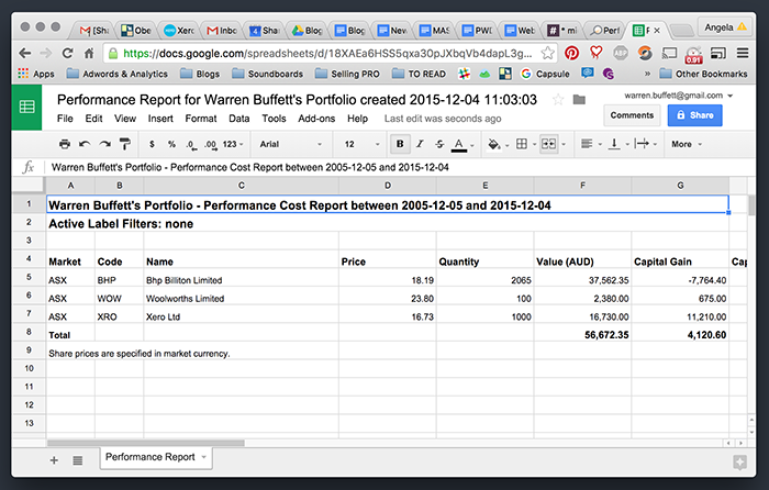 Sharesight report in Google Sheets