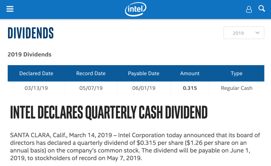 Intel declares dividend - screenshot