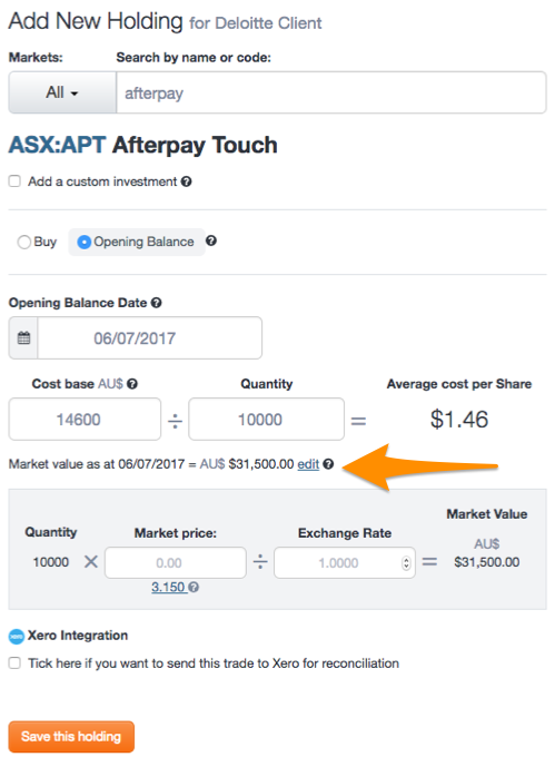 Opening Balance Afterpay