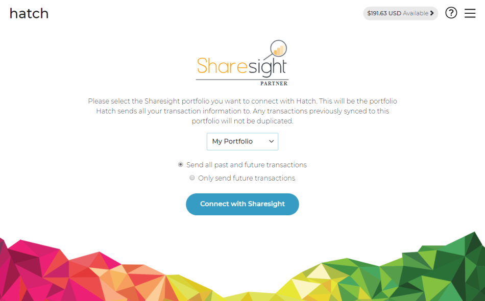 Connect Hatch to Sharesight portfolio tracker