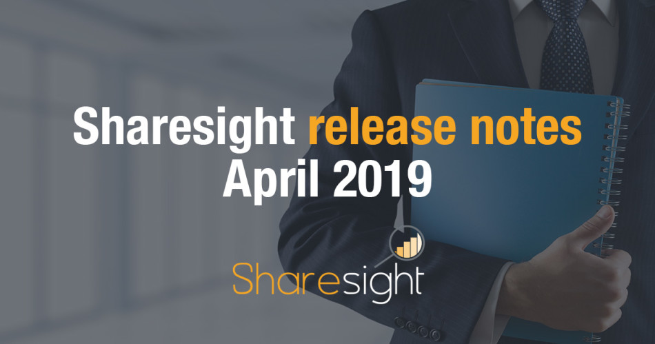 Sharesight release notes April 2019