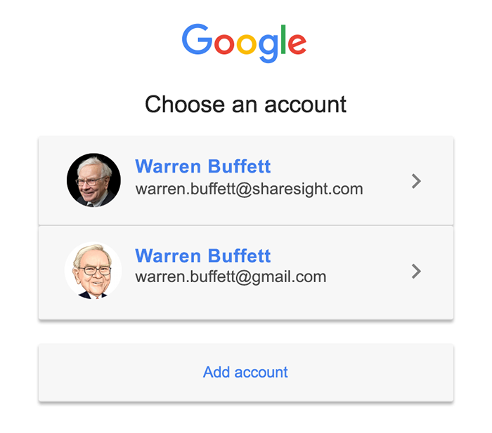 Select Google account