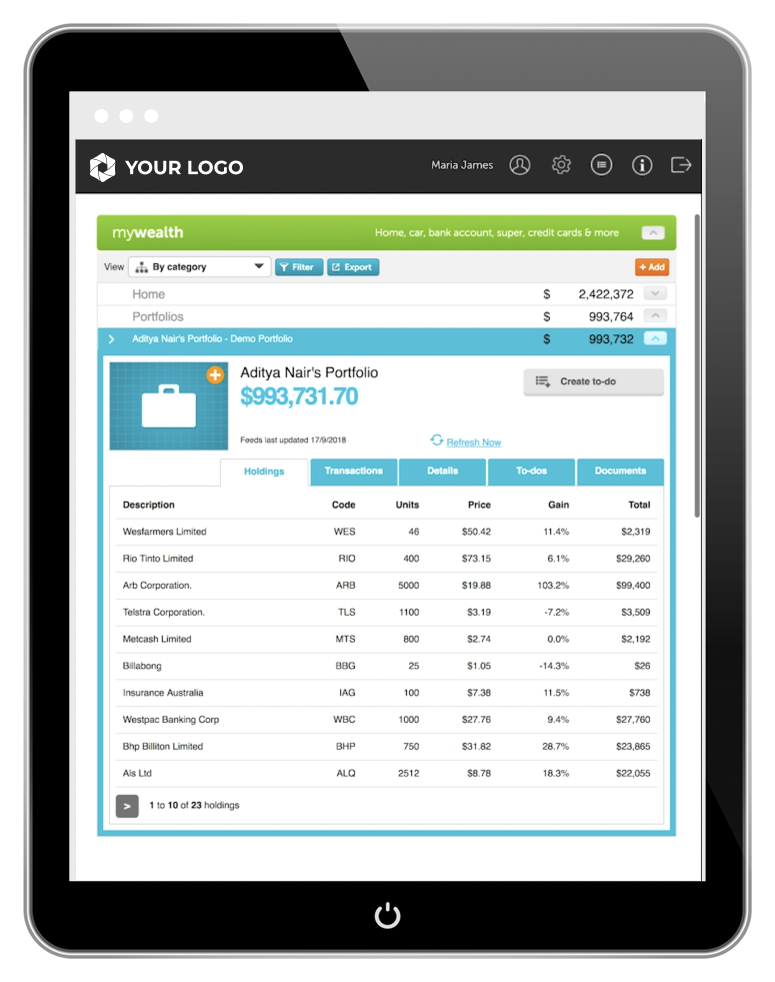 screenshot: myprosperity + Sharesight - tablet