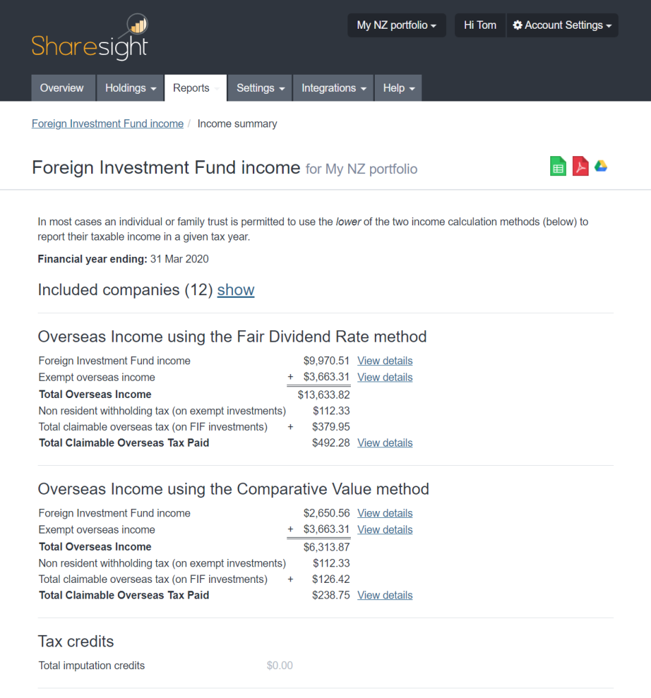 sharesight fif report - 2020 : 2