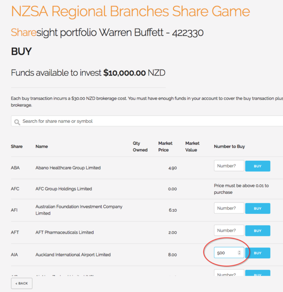 NZSA Share Game 2019 - 2