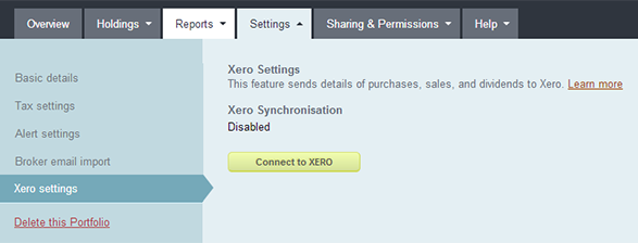 sharesight Xero settings