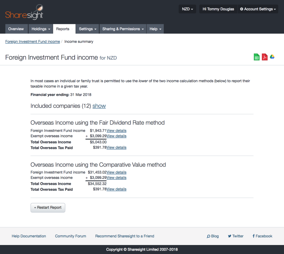 screenshot - Sharesight FIF Report - calculated