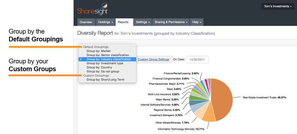 screenshot - sharesight - diversity report
