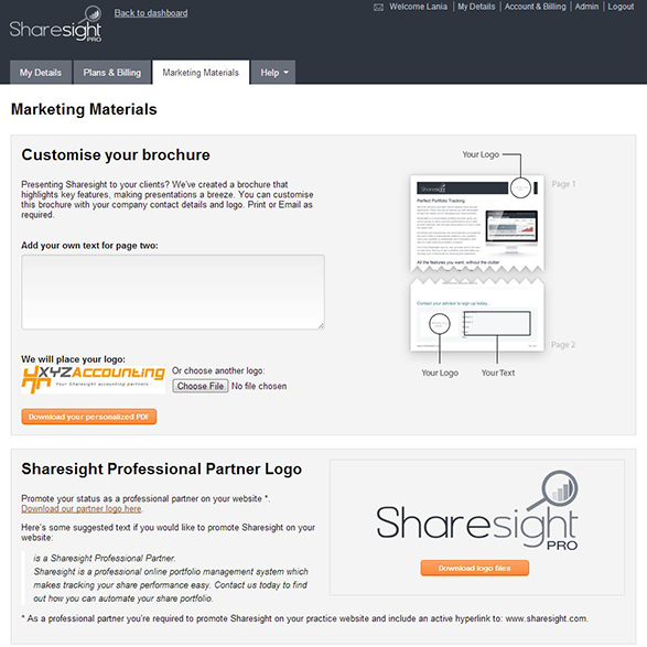 Marketing materials page