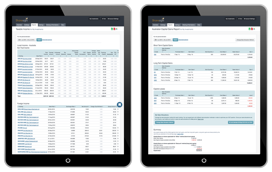 sharesight tablets tax-reports-au