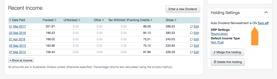 screenshot - Dividend Tracking 6