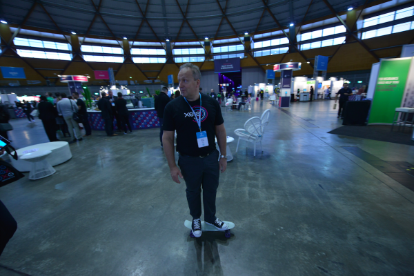 Xero CEO Rody Drury, skating around Xerocon Sydney 2014