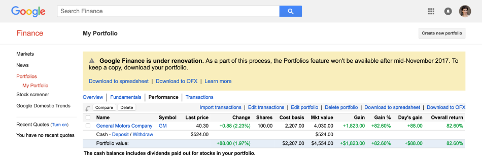 Google Finance - return