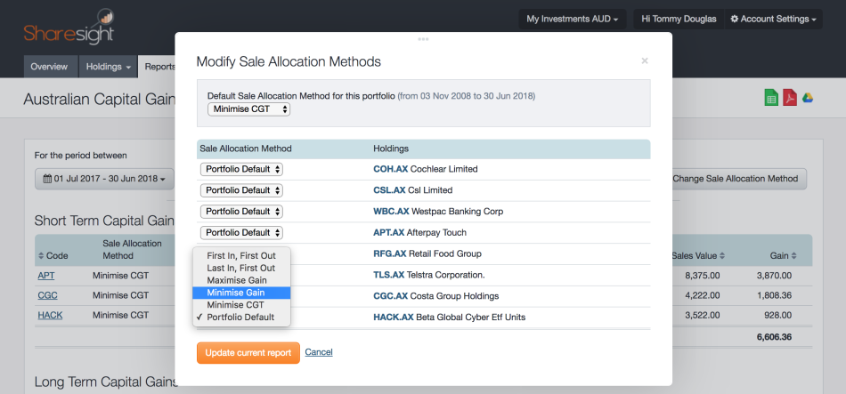 screenshot - Sharesight - Sale Allocation Methods