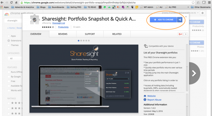 Sharesight Chrome Extension 2