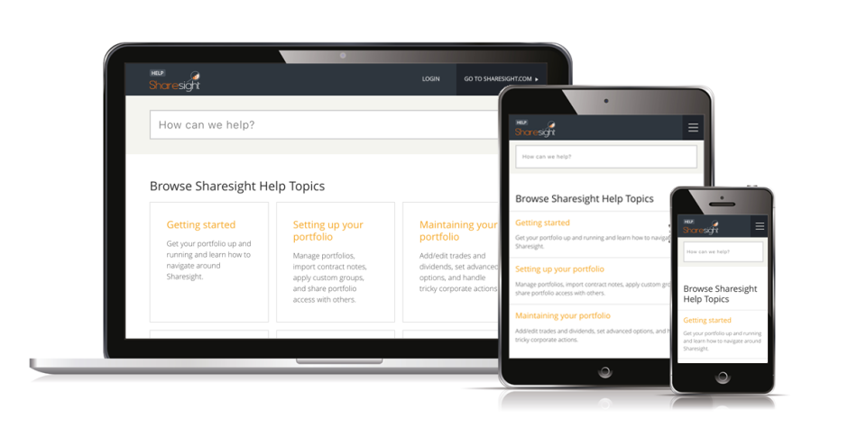 sharesight help website - responsive