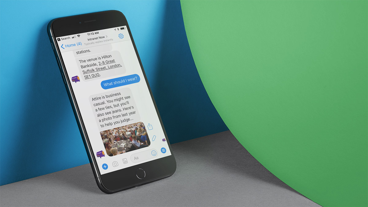 A phone with a conversation with a chatbot