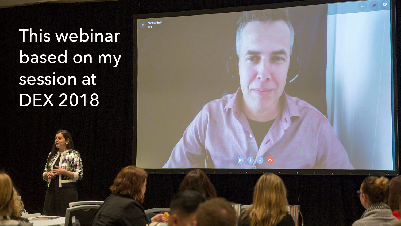 Chris McGrath presenting remotely at DEX 2018